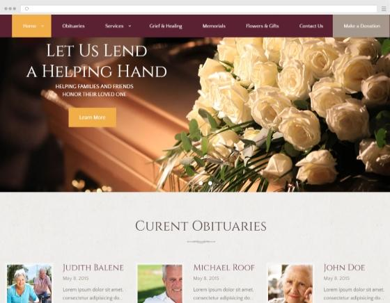 Designing a website showcase Pumps funeral